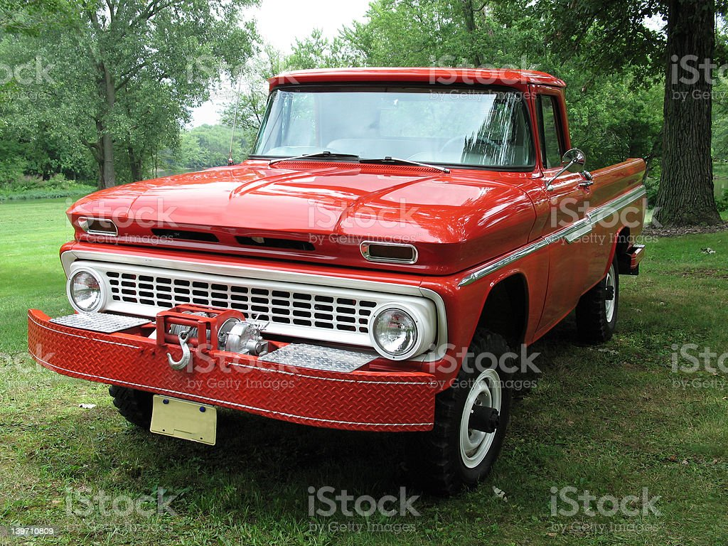 Big red pickup truck royalty-free stock photo