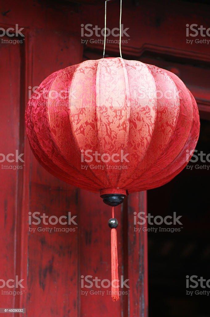 Big red silk lanterns stock photo