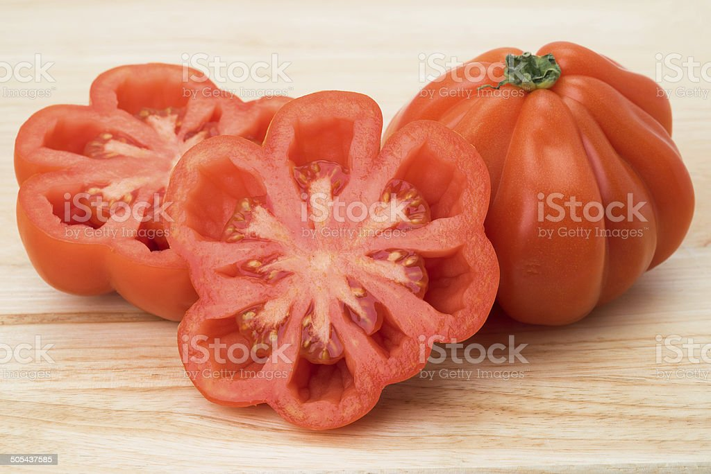 Big red tomato - heirloom variety stock photo