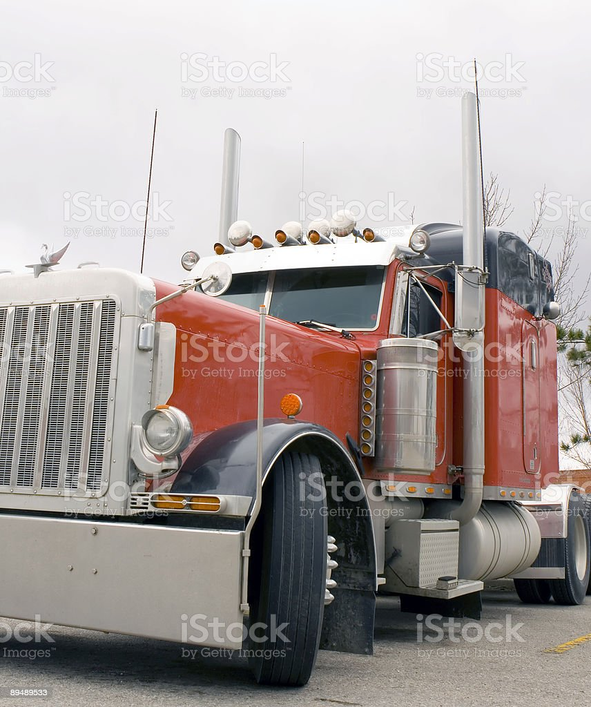 big red truck royalty-free stock photo