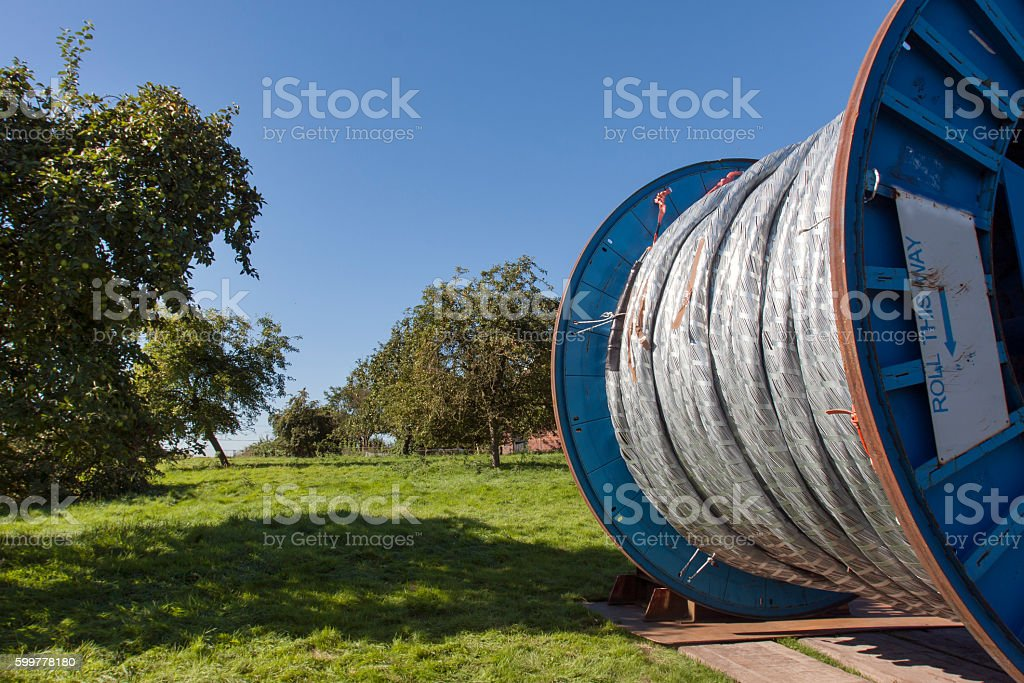 Big reel with cable stock photo