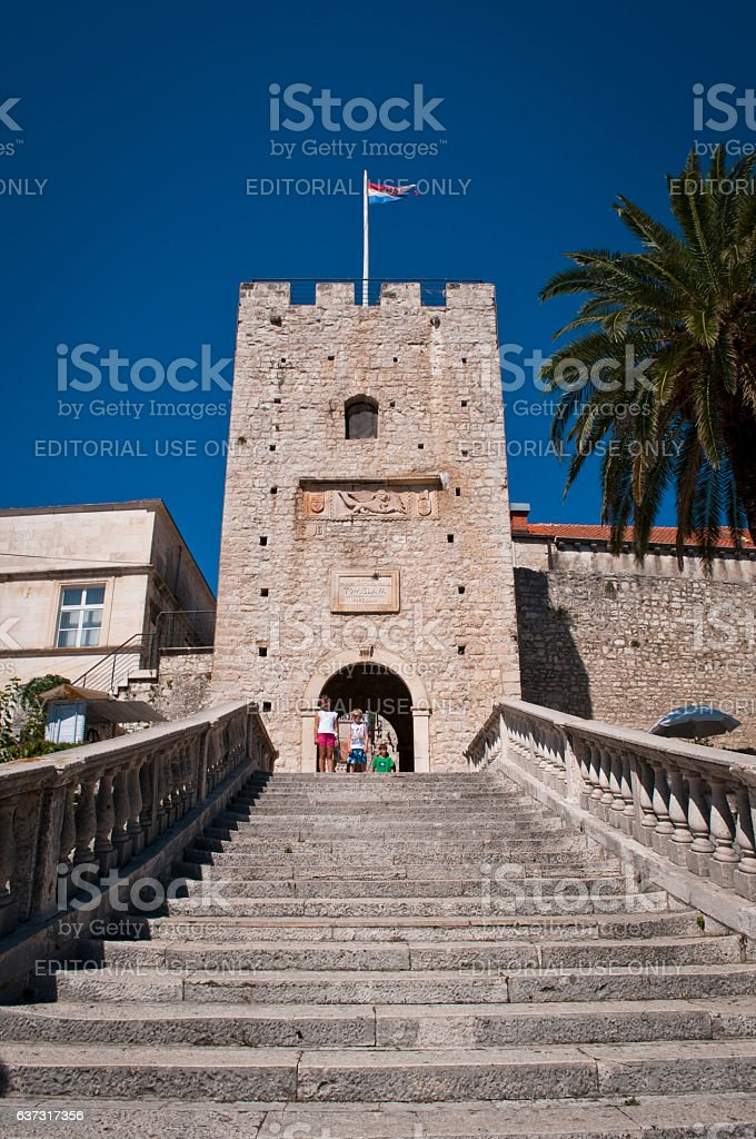 Big Revelin Tower, Old Town, Korcula, Croatia stock photo