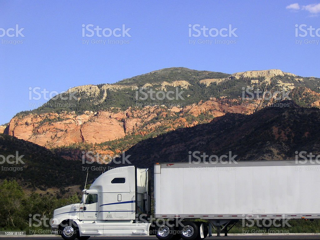 Big Rig Against a Hill royalty-free stock photo
