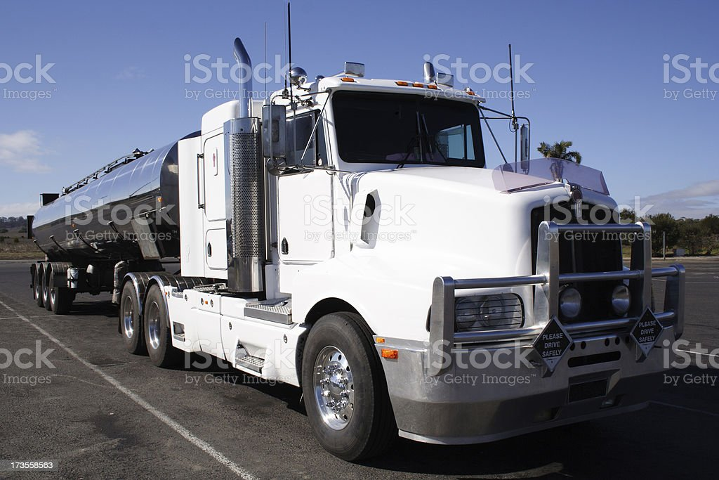 big rig at truckers park stock photo