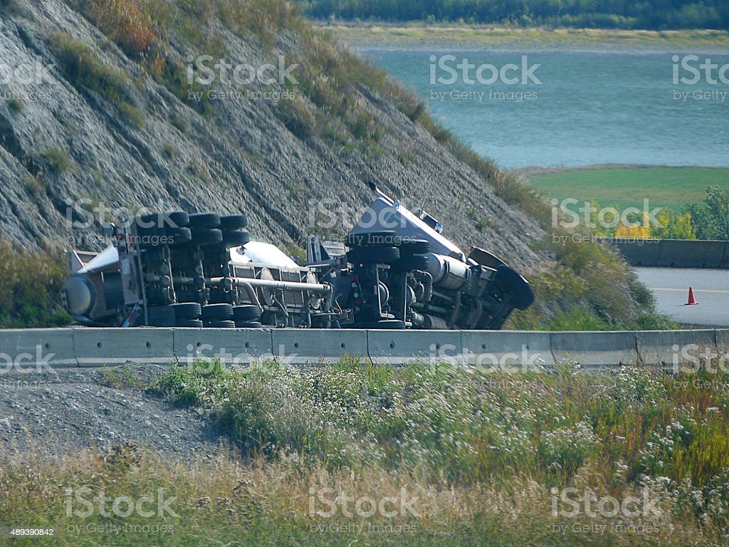 Big Rig Tanker Accident stock photo