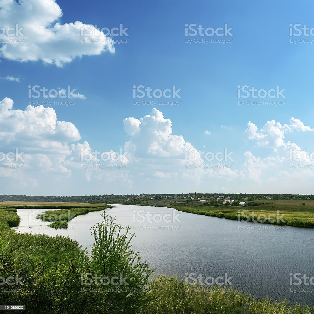 big river and blue cloudy sky royalty-free stock photo
