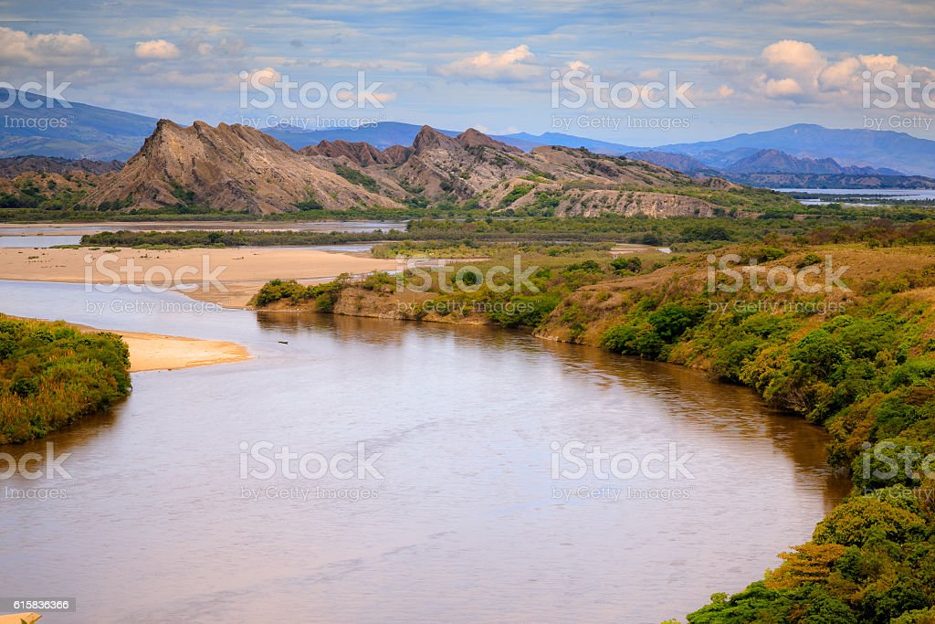 big river and rock mountains, magdalena river in colombia, latin stock photo
