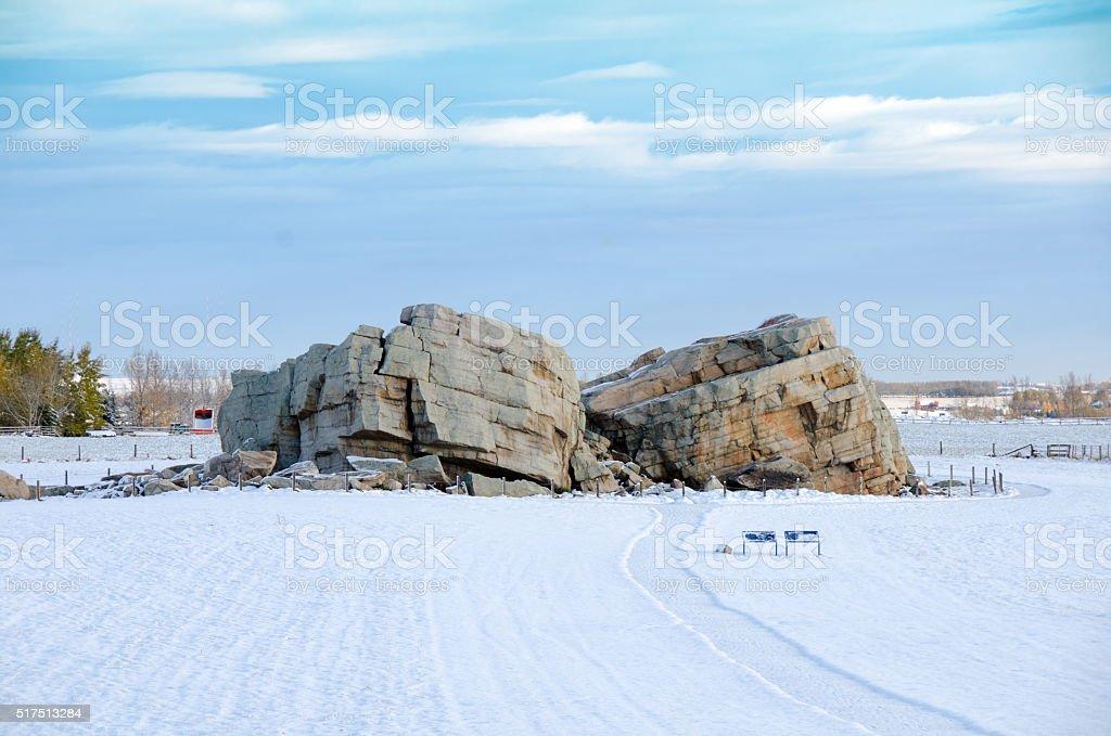 Big Rock Erratic- Okotoks Alberta winter stock photo