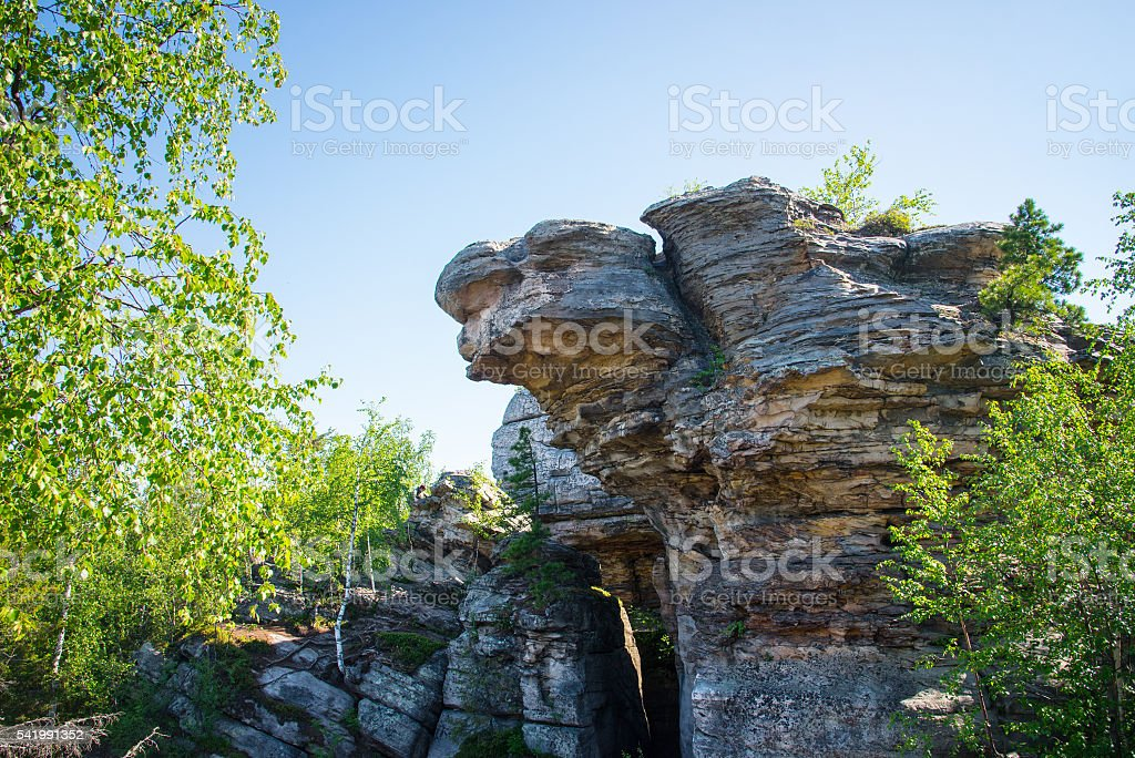 Big rock with intresting shape stock photo