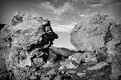 Big Rocks in desert in black and white, USA