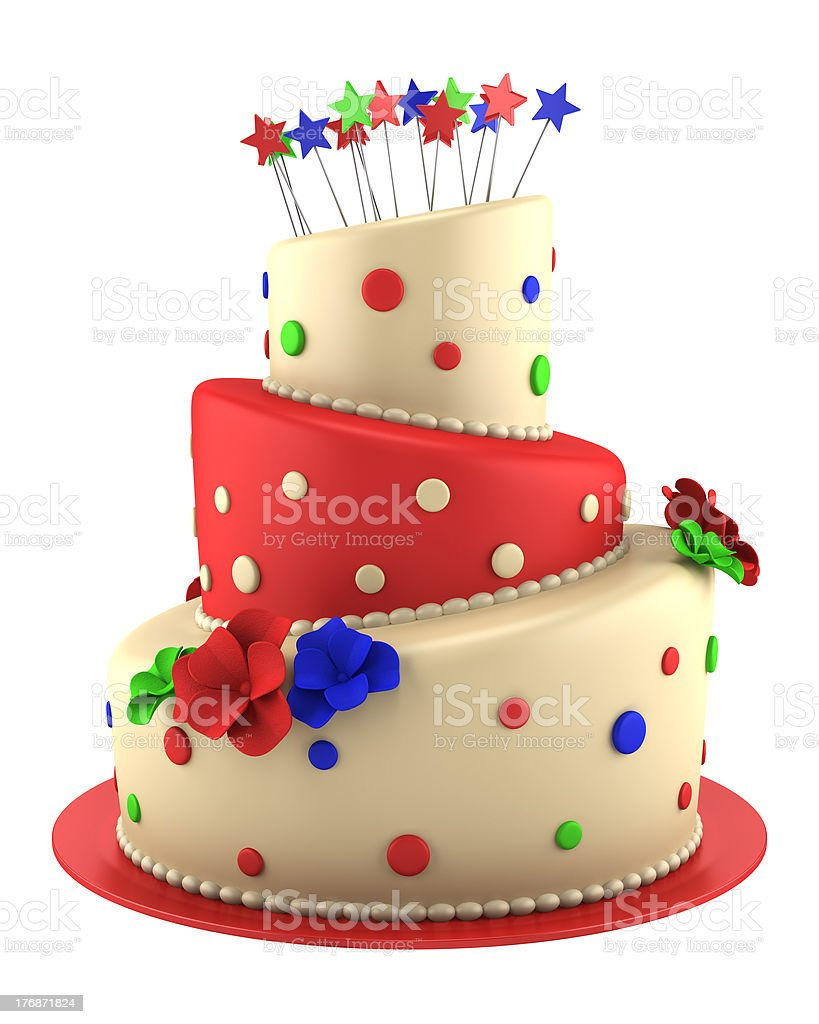 big round red and yellow cake isolated on white background royalty-free stock photo