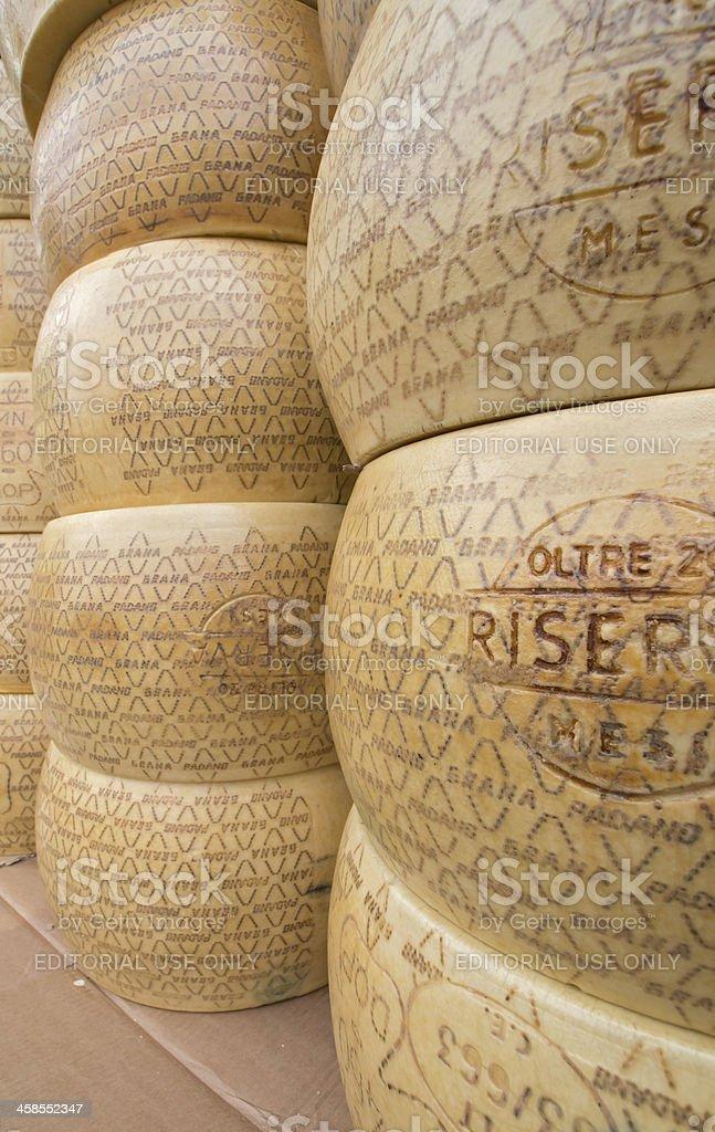 Big rounds of Italian cheese stock photo