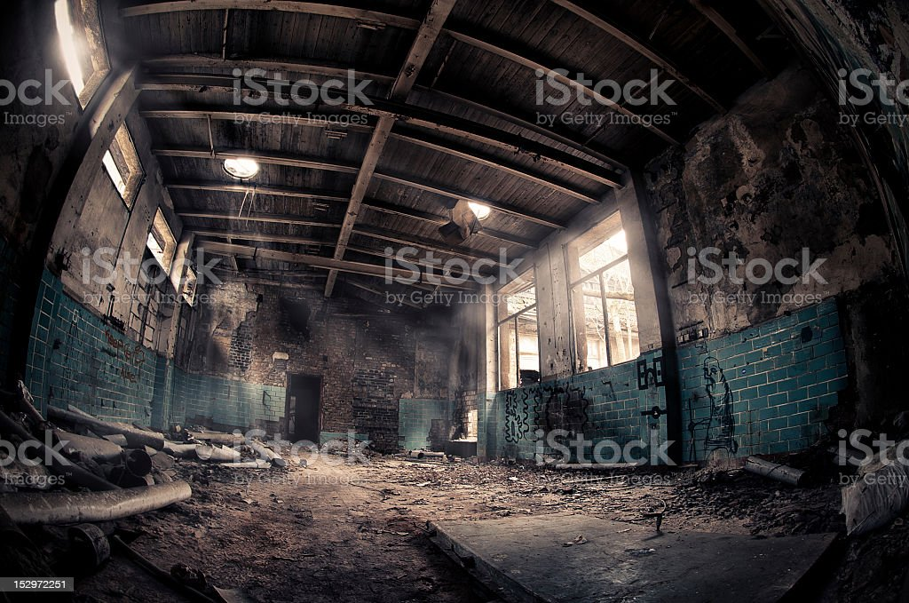 Big ruined room with sunshine through it - HDR stock photo