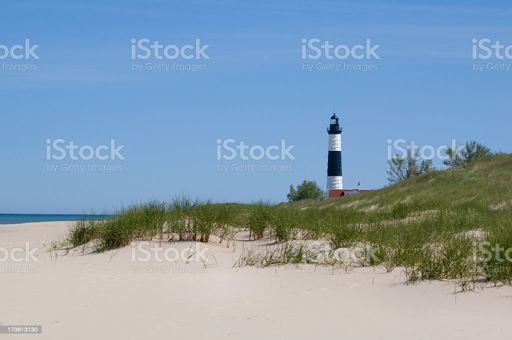 Big Sable Point Lighthouse, Beach and Dunes royalty-free stock photo