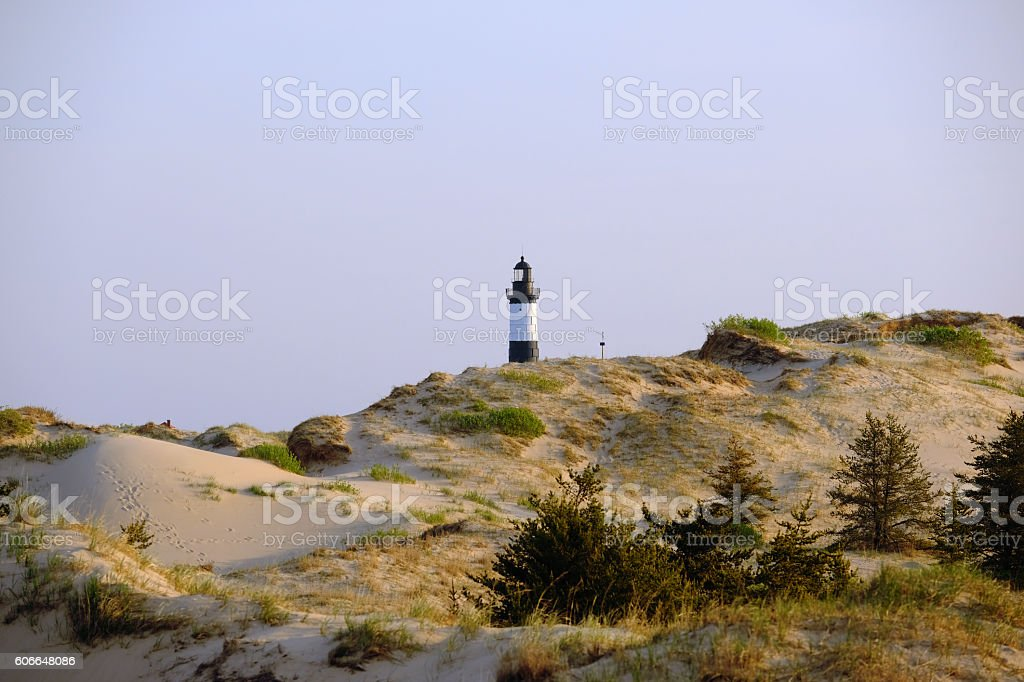 Big Sable Point Lighthouse in dunes, built in 1867 stock photo