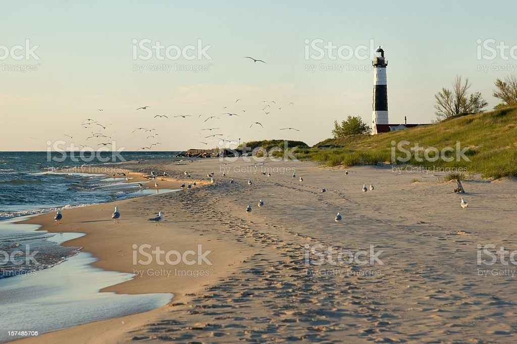 Big Sable Point Lighthouse with Gulls royalty-free stock photo