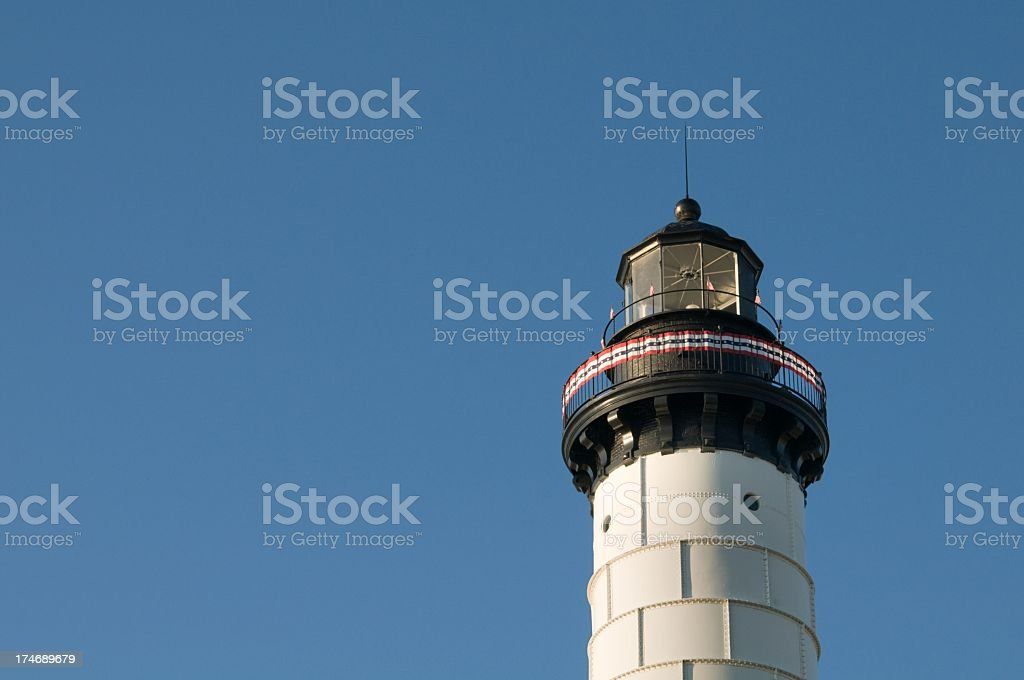 Big Sable Point Lighthouse with Patriotic Ribbon royalty-free stock photo