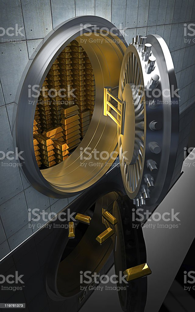 Big safe with Gold ingots 3D render stock photo