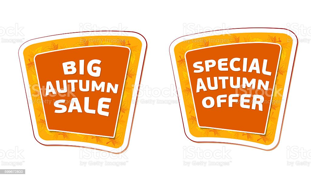big sale and special offer autumn banners stock photo