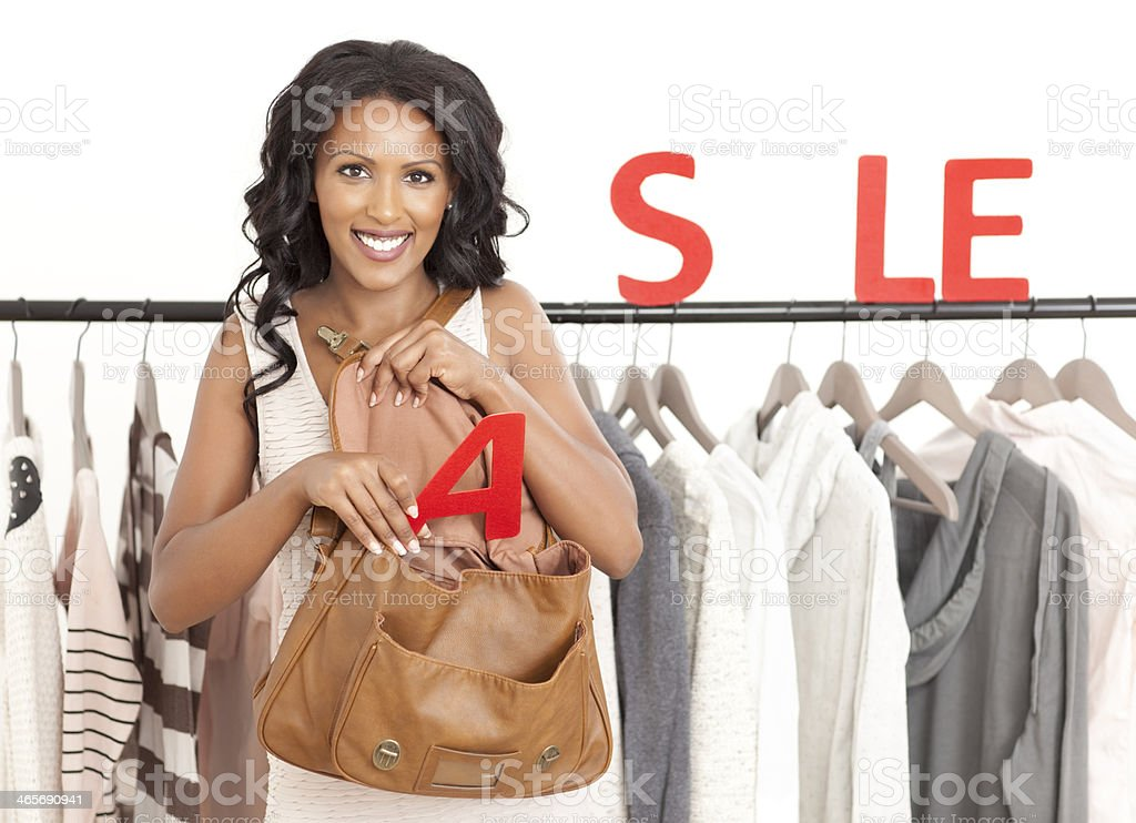 Big sale at clothing shop royalty-free stock photo