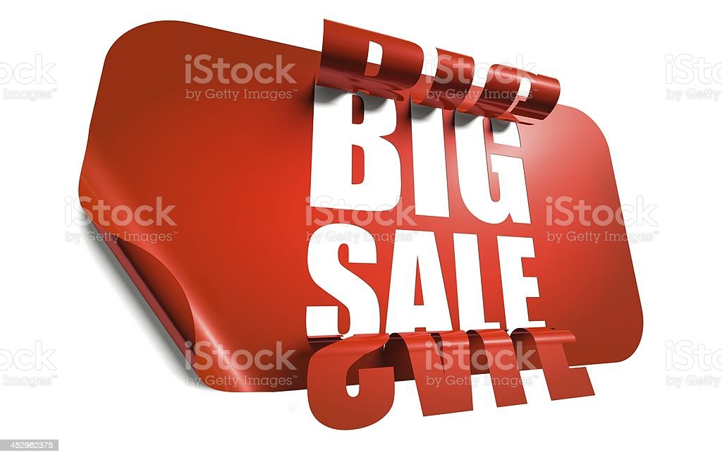 Big sale concept, cut out in sticker royalty-free stock photo