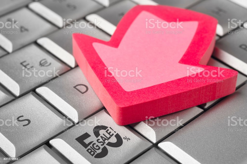 Big sale discount 50% icon on a keyboard. Shopping stock photo
