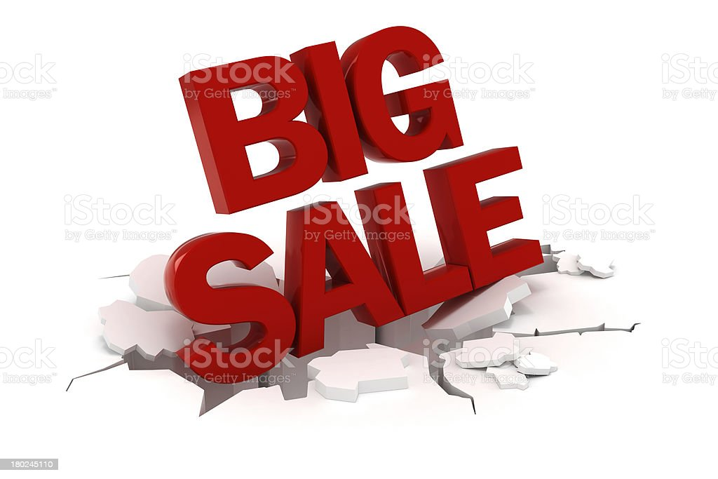 A 3-D big sale sign on white background stock photo