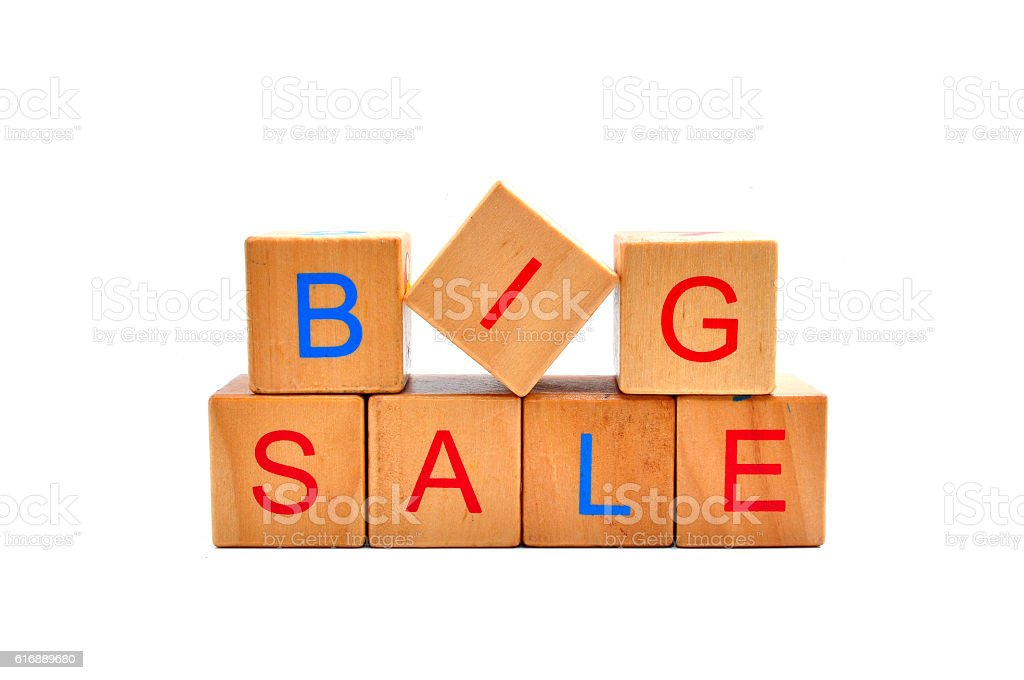 Big sale - text in wooden cubes stock photo