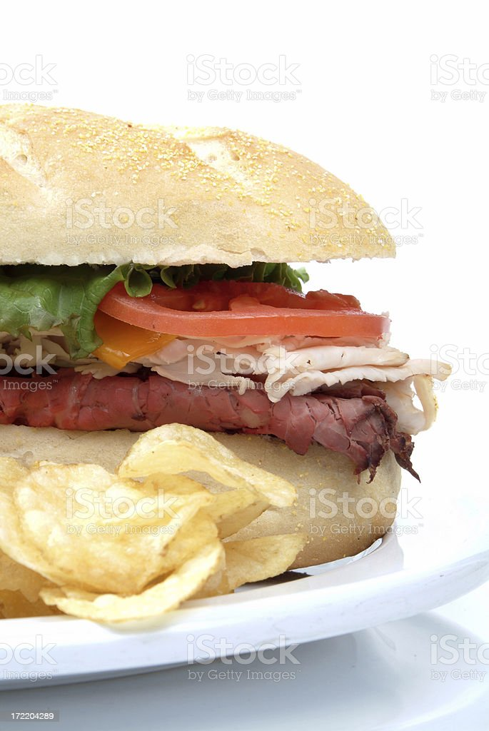 Big Sandwich with Chips on the side stock photo