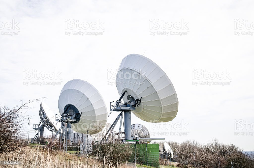 big sattelite transmitter stock photo