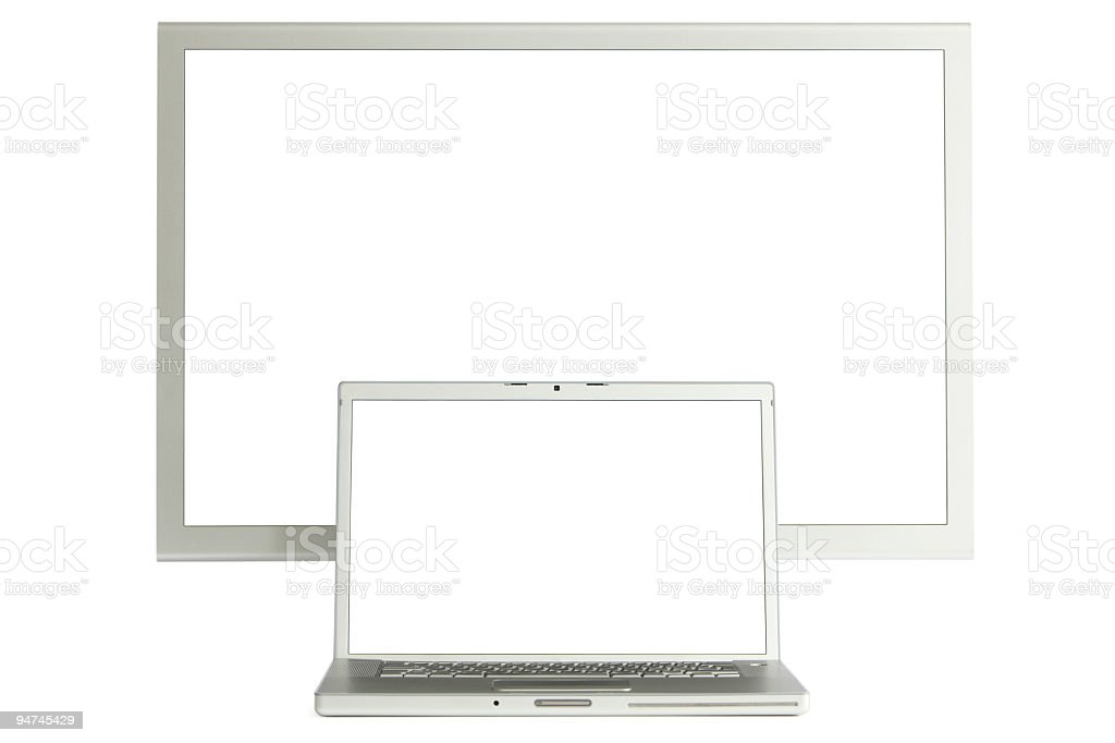 Big screen and laptop stock photo