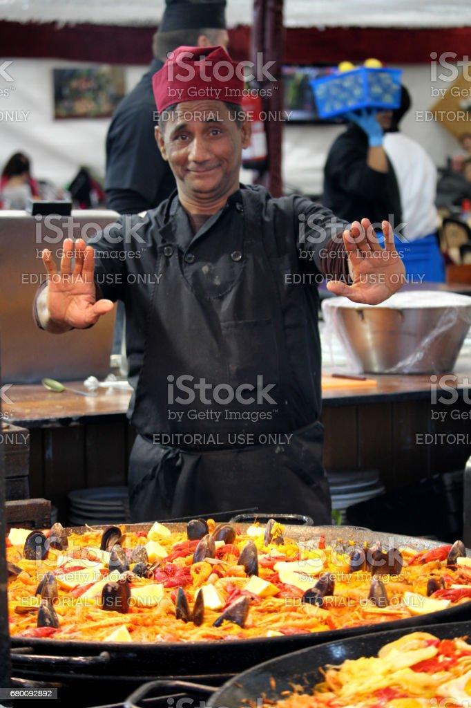 Big seafood paella at Feria de Abril stock photo