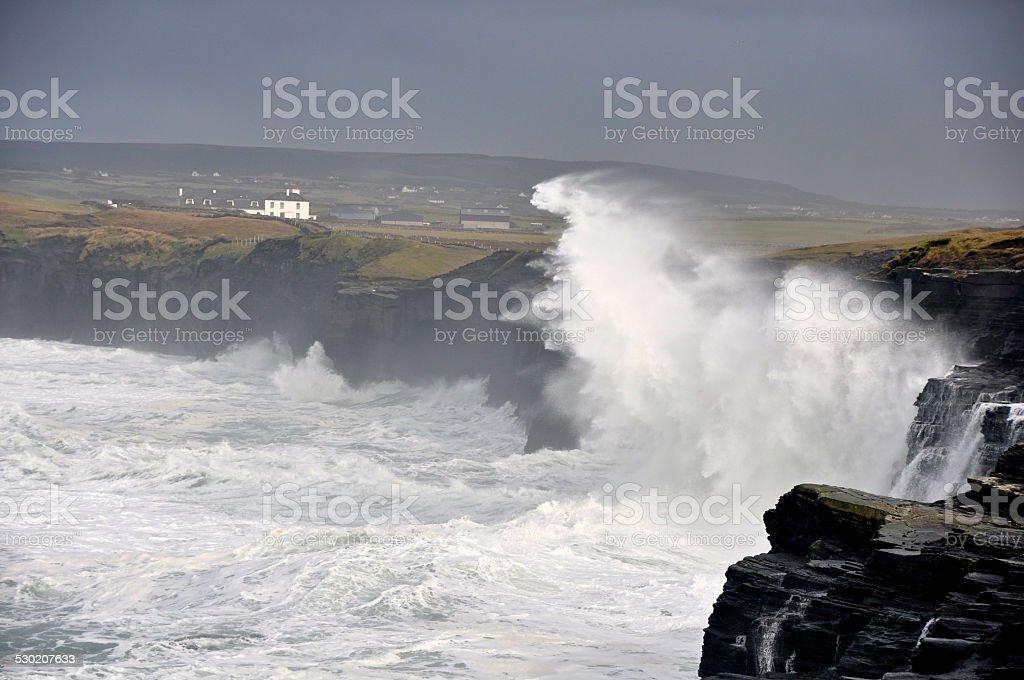 Big seas crash on the wild west coast of Ireland stock photo