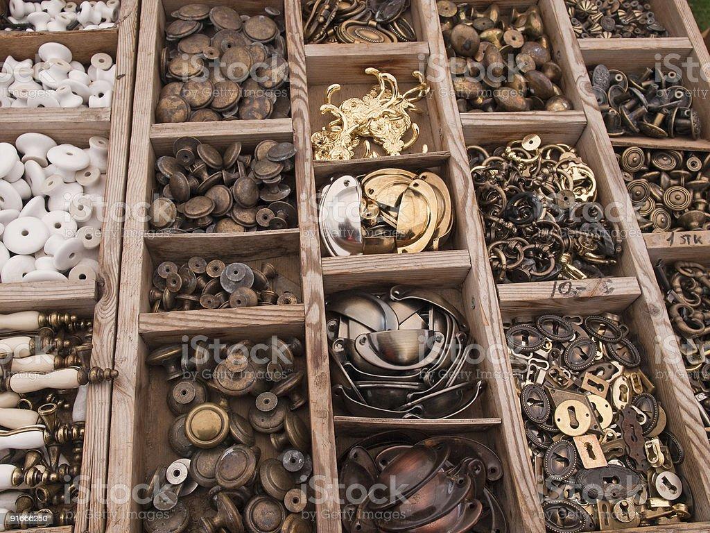 Big selection of DIY cabinets parts stock photo