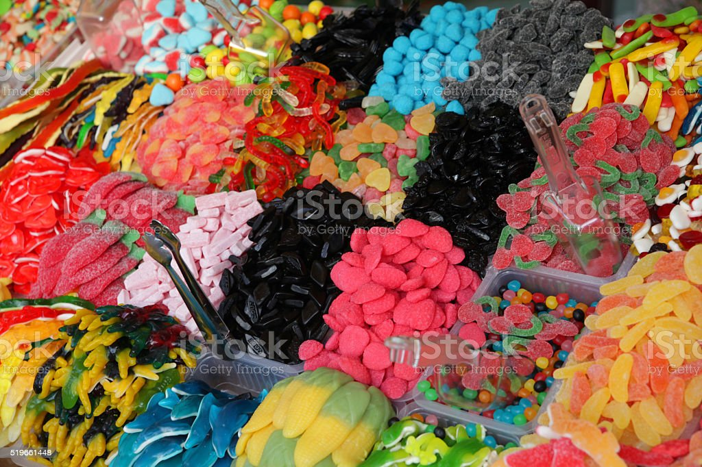 Big selection of gummy bears for sale stock photo