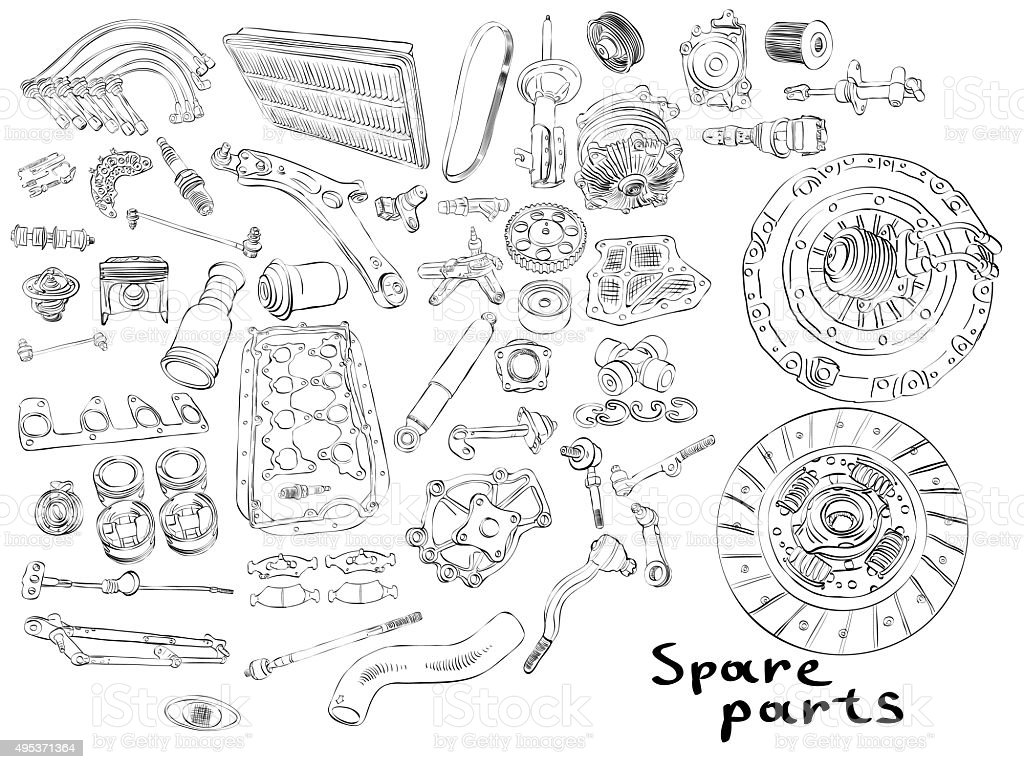 Big set of painted aftermarket spare parts for cars vector art illustration