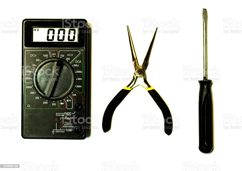 Big set of professional electrician tools stock photo