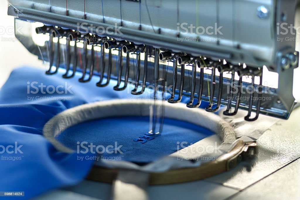Big sewing workshop stock photo