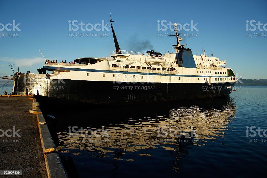 Big ship at Savusavu harbor, Vanua Levu island, Fiji stock photo