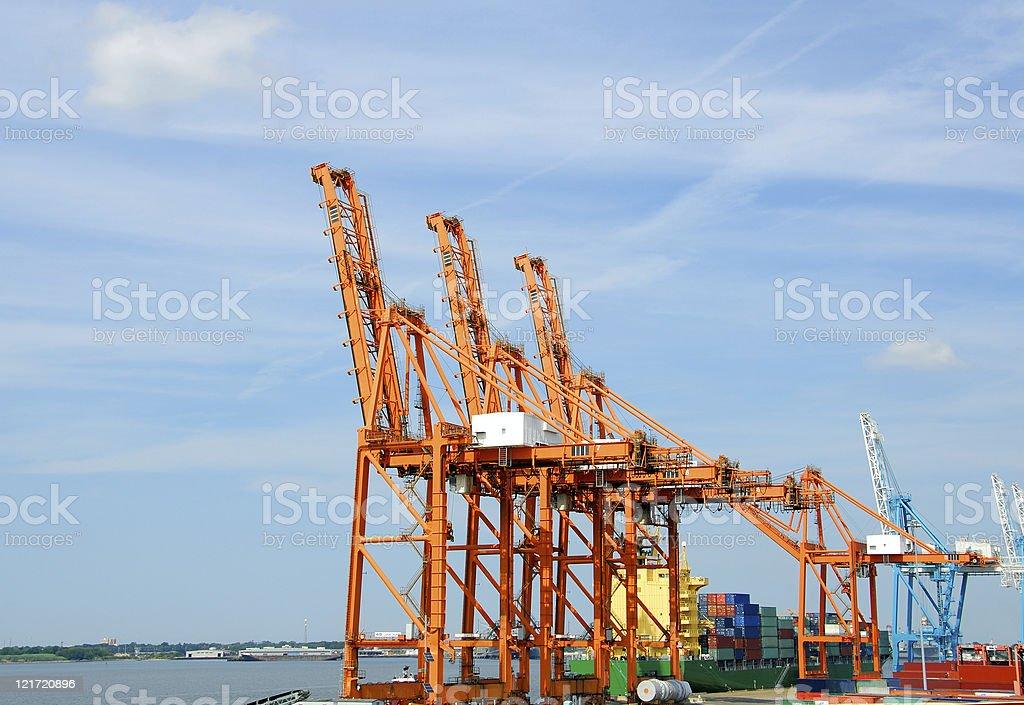 Big Ship, Bigger Cranes stock photo
