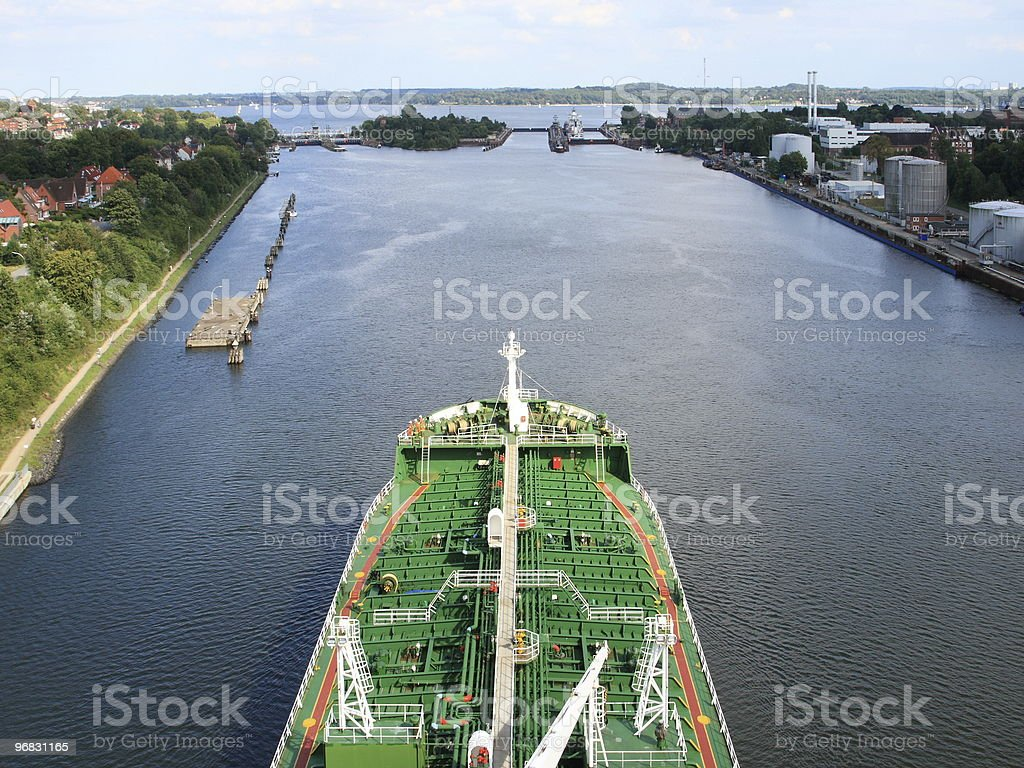 Big Ship from Top of Bridge stock photo