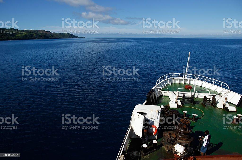 Big ship going along Vanua Levu island, Fiji stock photo
