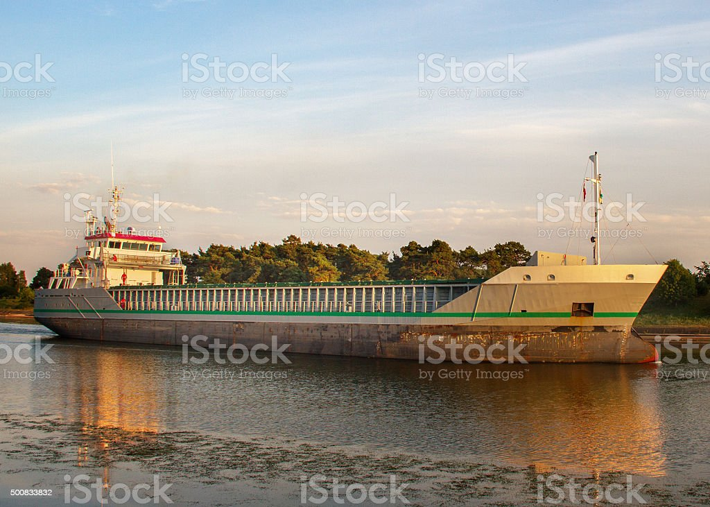 Big ship in canal. stock photo