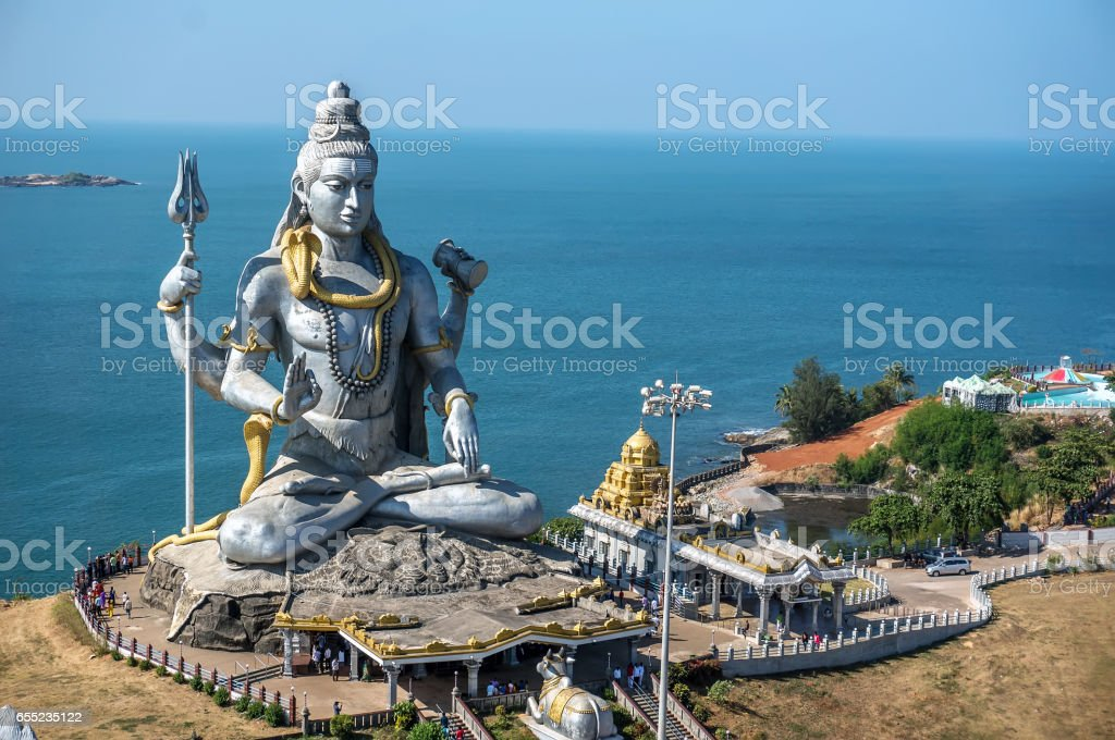 Big Shiva. Lord Shiva Statue in Murudeshwar, Karnataka, India. Tour from Goa and Gokarna. stock photo