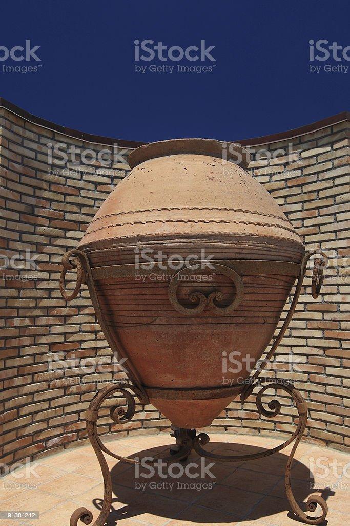 Big Sicilian terracotta amphora stock photo