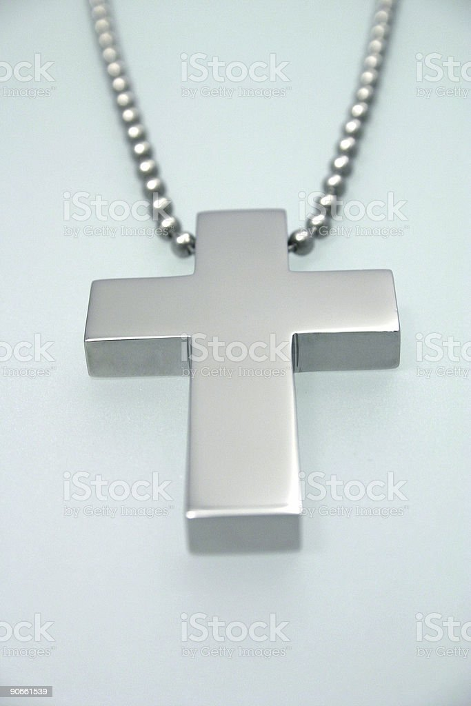 Big silver cross royalty-free stock photo