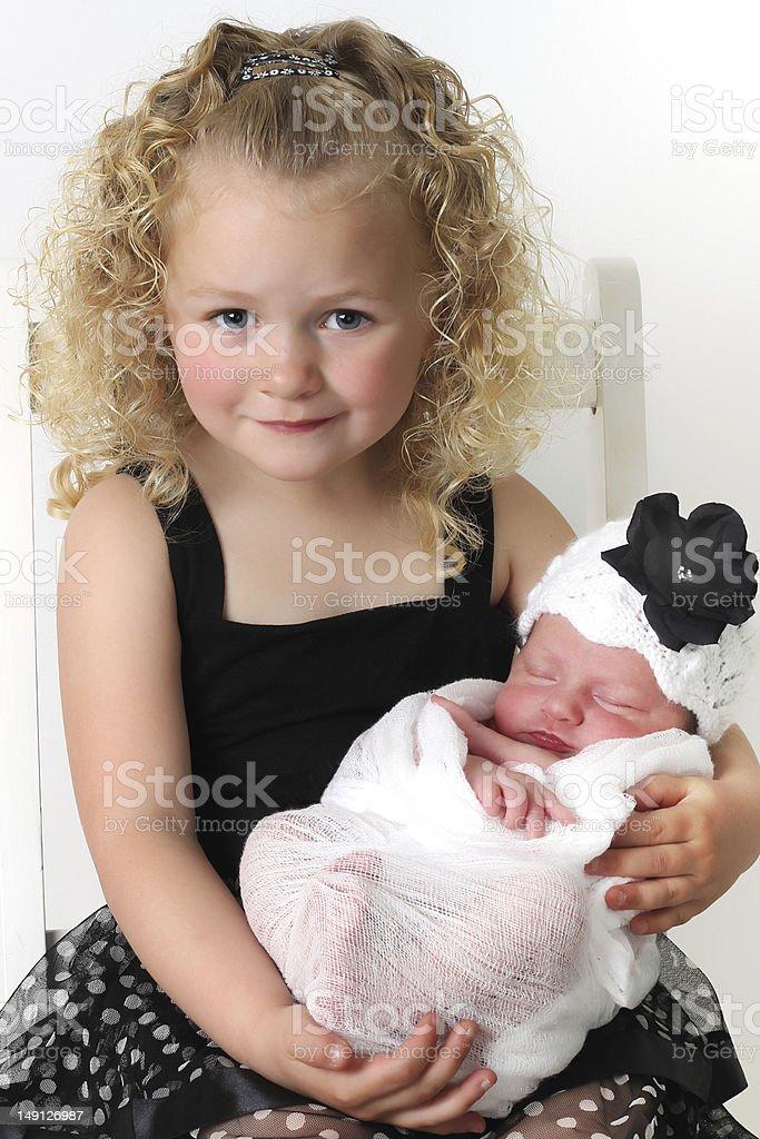 Big sister and baby royalty-free stock photo