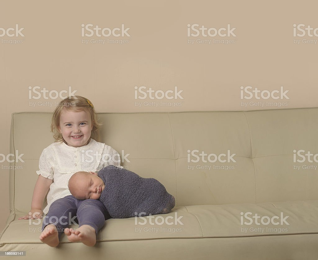 Big Sister Holding Brother royalty-free stock photo