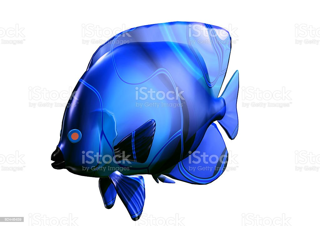 3D big size blue fish royalty-free stock photo