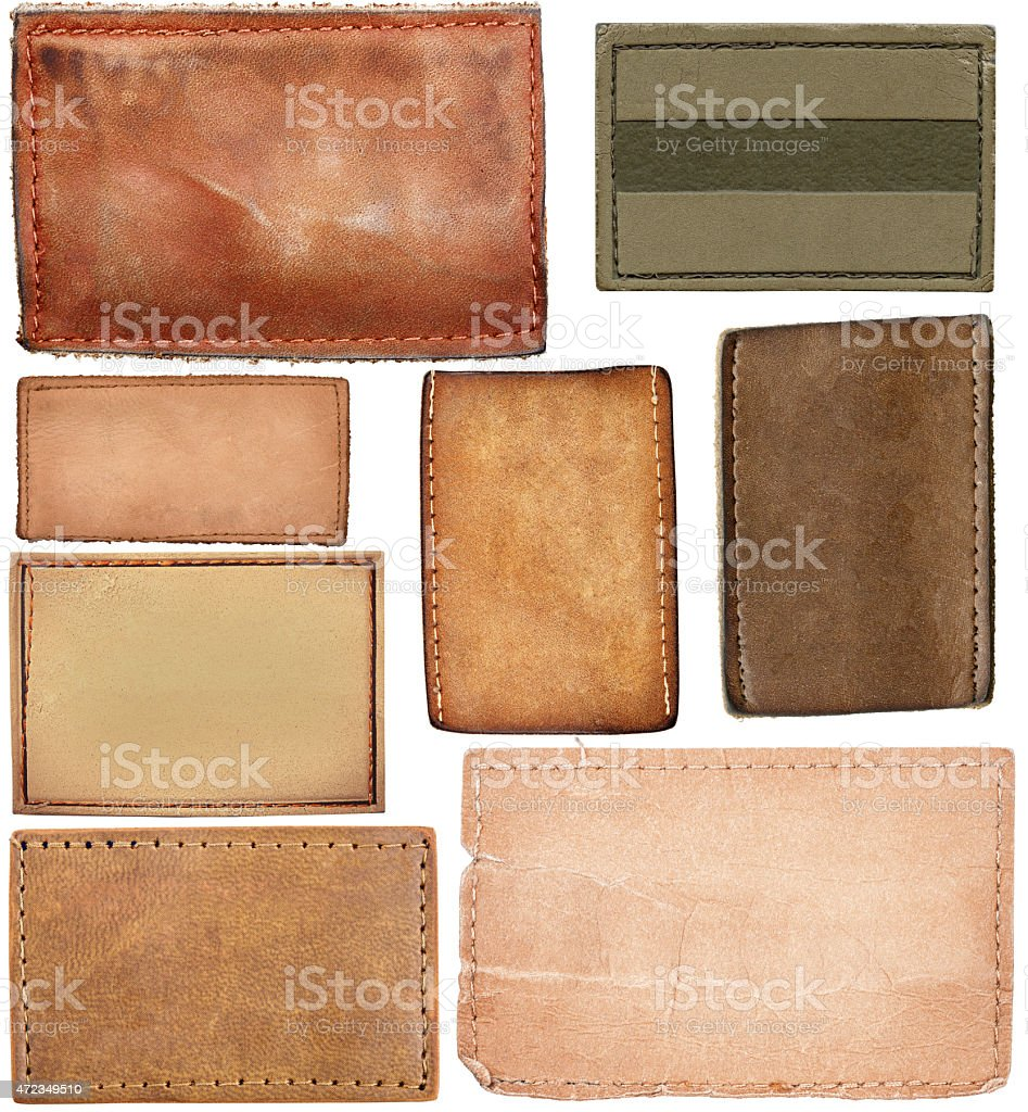 Big size set of blank leather jeans labels stock photo